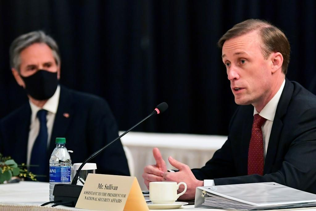 US National Security Adviser Jake Sullivan (right), with US Secretary of State Anthony Blinken (left), during the opening session of the US-China talks at the Captain Cook Hotel in Anchorage, Alaska, USA.  March 18, 2021.