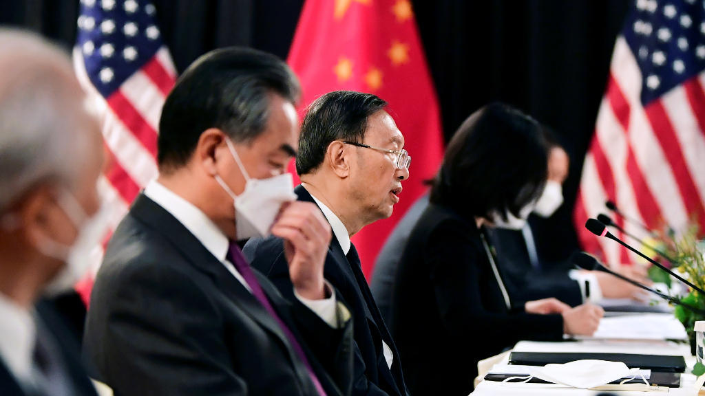 The Chinese delegation led by Yang Jiechi, director of the Central Committee for Foreign Affairs office, and Wang Yi, state councilor and Chinese foreign minister, speaks at the opening session of the US-China talks in Anchorage, Alaska, on March 18, 2021.