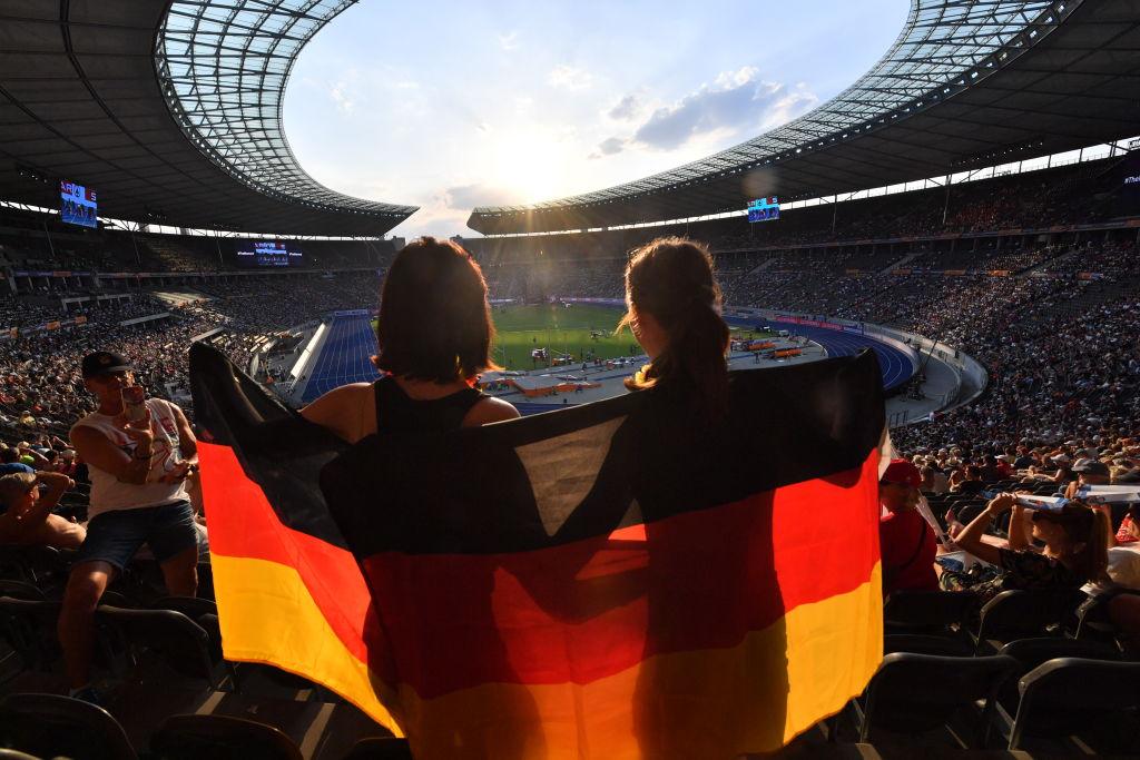 German spectators in the stadium
