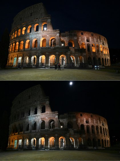 The Colosseum in Rome on March 27, 2021 before (above) and after (below) the lights go out at Earth Hour