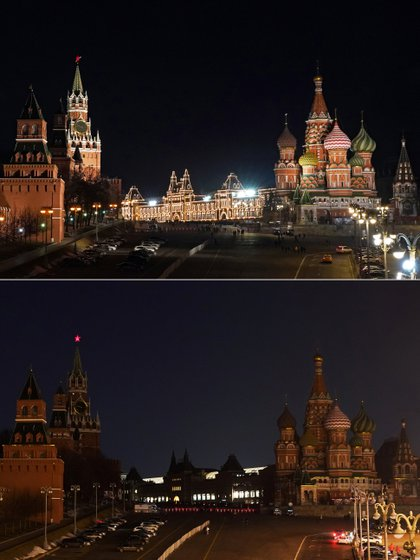 Shows a collage photo of the Kremlin, GUM store, and St. Basil's Cathedral before (top) and during Earth Hour in Moscow, Russia