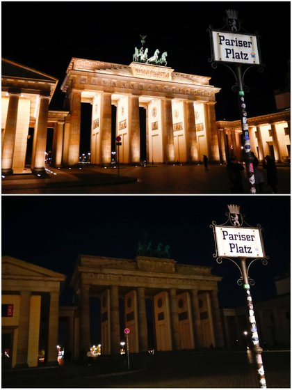 The collage shows the Brandenburg Gate before (above) and during Earth Hour in Berlin, Germany