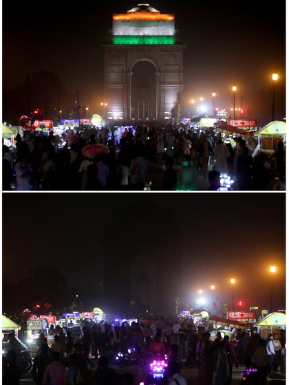 India Gate War memorial before (above) and after lights out in New Delhi, India