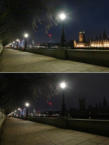 A set of photos taken on March 27, 2021 in central London show Westminster Palace, home to both houses of Parliament including the House of Lords and the House of Commons, before (above) and after plunging into darkness at Earth Hour's environmental campaign.