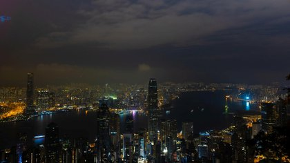 A view of Hong Kong during Earth Hour 2021 celebrations
