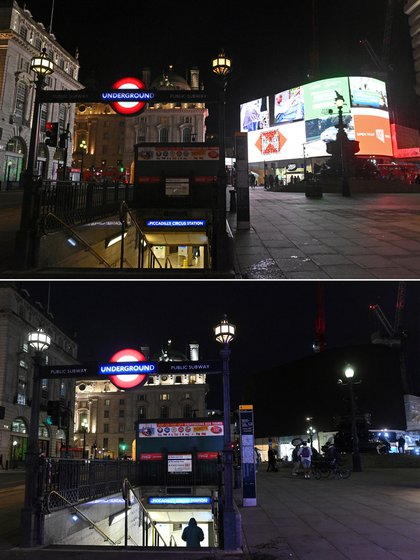 Piccadilly Circle in London joined Earth Hour 2021