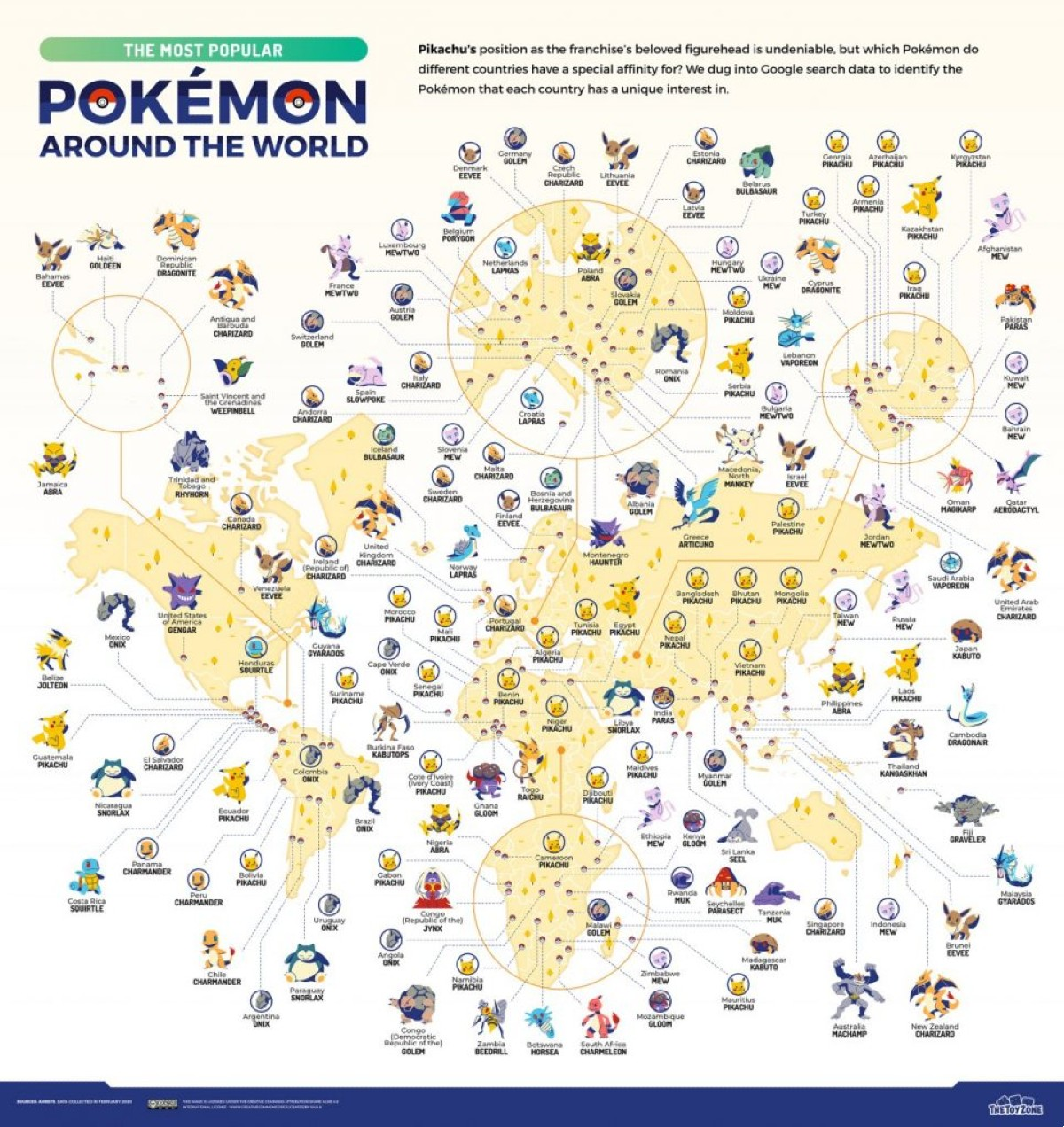 This is what the map of the Pokemon Most Wanted by country looks like (Image: Game Zone)