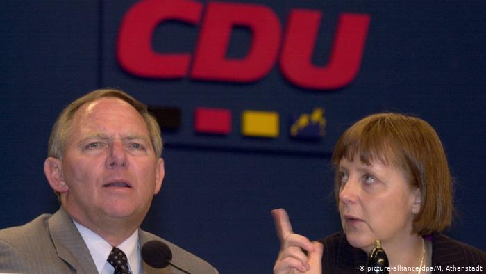 Wolfgang Schäuble and Angela Merkel.