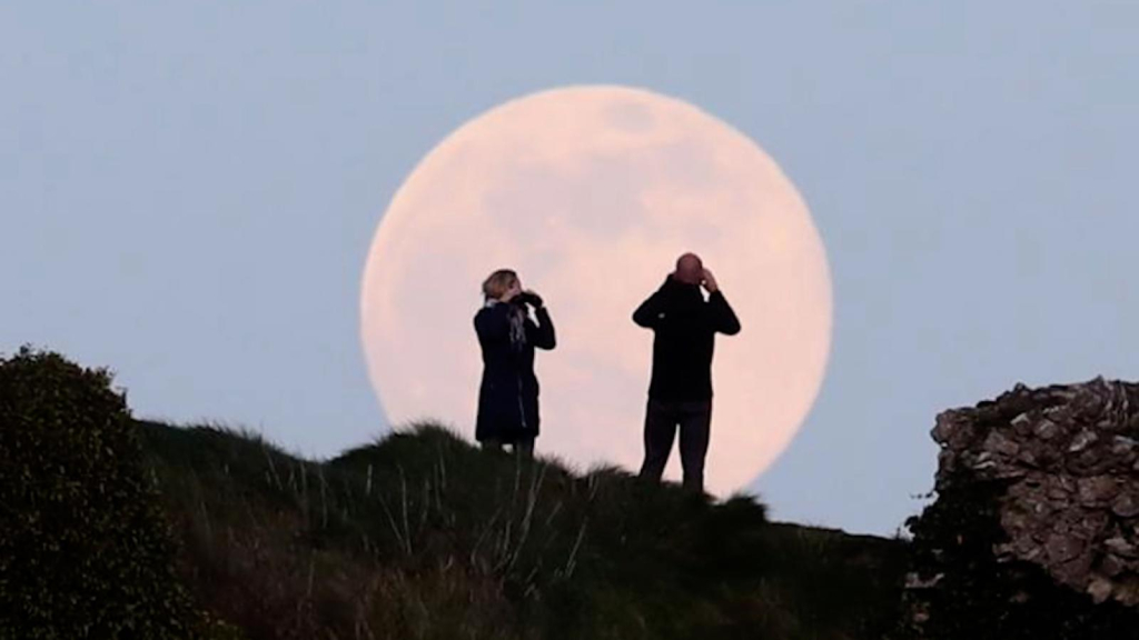 Monday evening there will be a pink giant moon