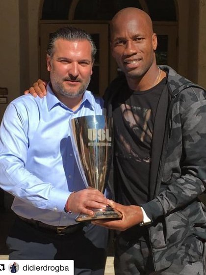 Berke Bakay, new co-owner of Ipswich Town, after winning a Western Conference Championship with Drogba in Phoenix Rising