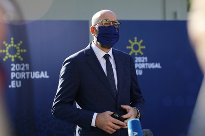 European Council President Charles Michel speaks to the press upon his arrival at Crystal Palace to attend an informal meeting within the framework of the European Social Summit in Porto, Portugal, on May 8, 2021. Reuters / Violetta Santos Moura / Gathering