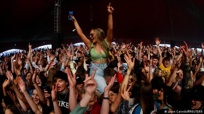 Thousands of young people at a party in Liverpool