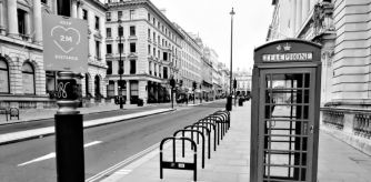 A deserted London street, one year after the Covid pandemic was declared.