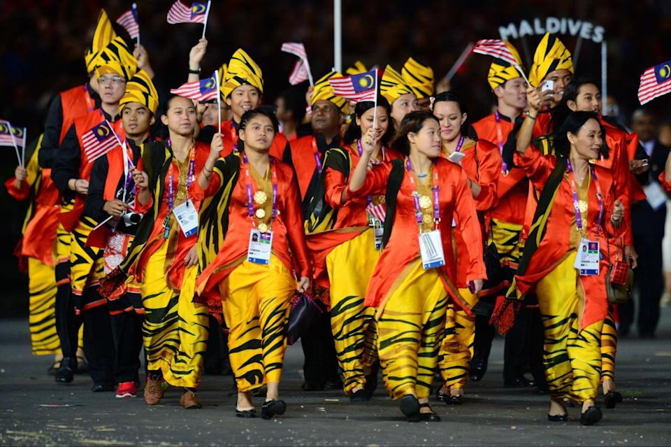 Authentic Malaysian clothing at the opening of the 2012 Games in London (OLIVIER MORIN / AFP / Getty Images)