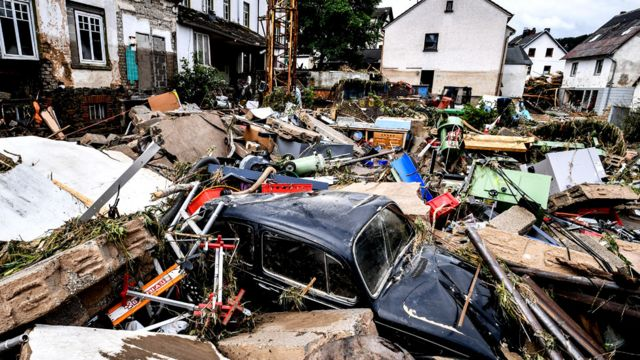 Houses and cars wrecked after the German Sjöld floods on July 15, 2021