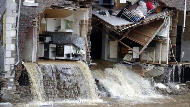 Flood in Pepinster, Belgium.