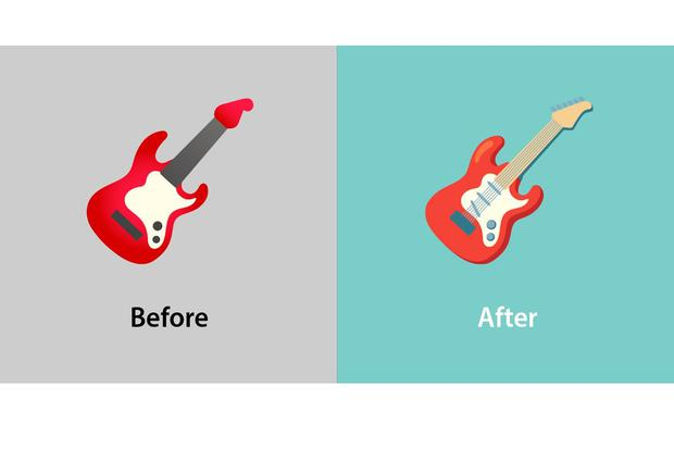 This way the guitar integrates its strings and other details.  (Photo: Emojipedia)