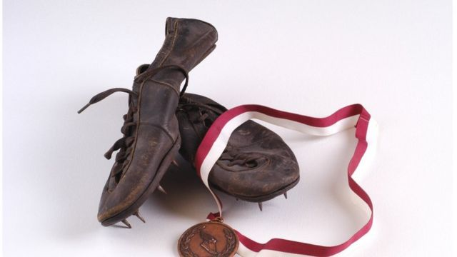 A pair of old running shoes.