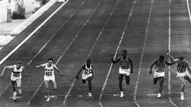 Runners run the 100-meter race at the 1960 Olympics in Rome.