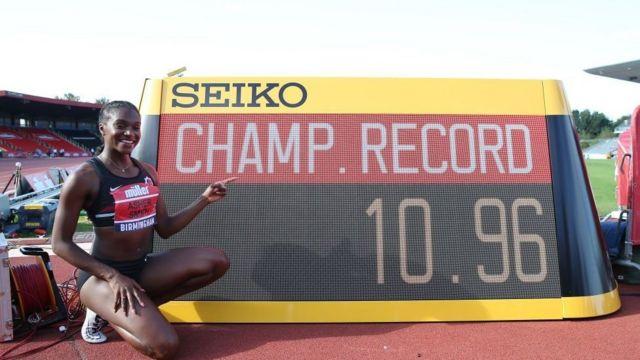 British sprinter Dina Asher-Smith celebrates her under-11 mark at the 2019 European Athletics Championships.