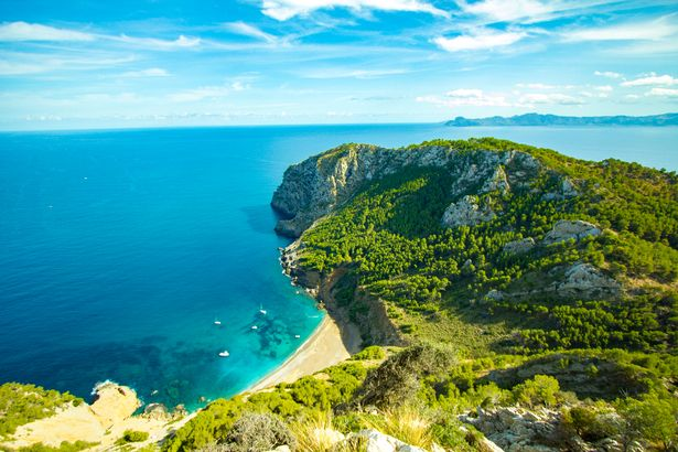 Stunning panoramic view of Coll Baix Mallorca Beach in Spain