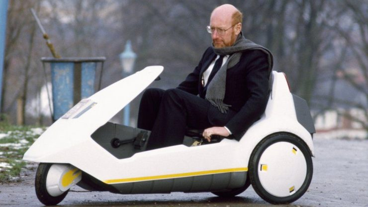 Clive Sinclair in his C5 electric car