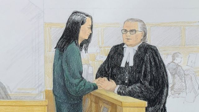 An art show by Ming Wanzhou at the court in Vancouver, Canada