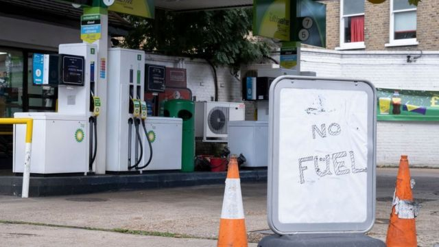 A petrol station closed in the UK due to the fuel crisis.